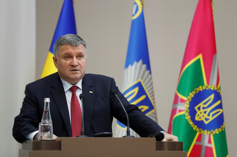 FILE PHOTO: Ukrainian Interior Minister Arsen Avakov speaks during a news conference in Kyiv