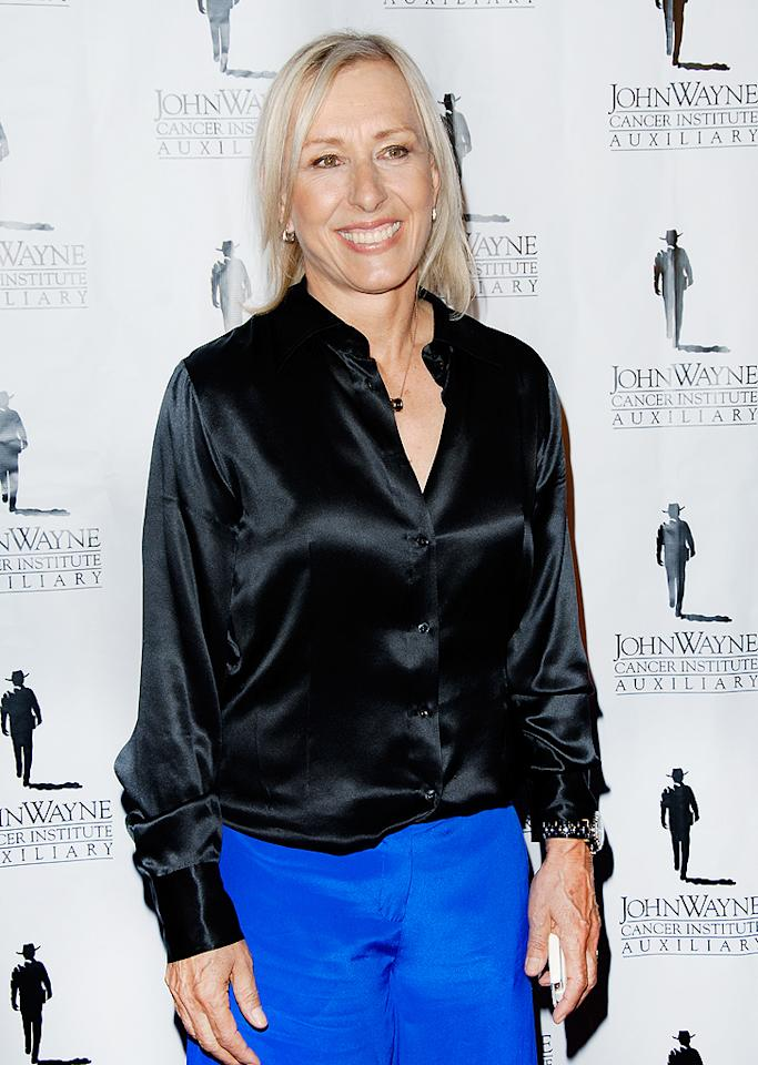 """<p class=""""MsoNoSpacing"""">A routine mammogram in January 2010 revealed that tennis ace Martina Navratilova had an intraductal carcinoma in her left breast. Two months later, she had the tumor surgically removed and then followed it up with six weeks of radiation therapy – and by September of that year, she announced she was thankfully cancer-free! """"Now I feel as good as new,"""" Martina, now 55, told <em>People</em> at the time. """"I have an excellent prognosis, and I'm really doing well."""" (4/21/2012)</p>"""