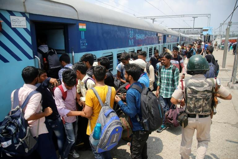 "National Institute of Technology students who left Srinagar wait to leave for home at a railway station in Jammu after the government of the Indian-administered region warned of ""terror threats"" (AFP Photo/STR)"