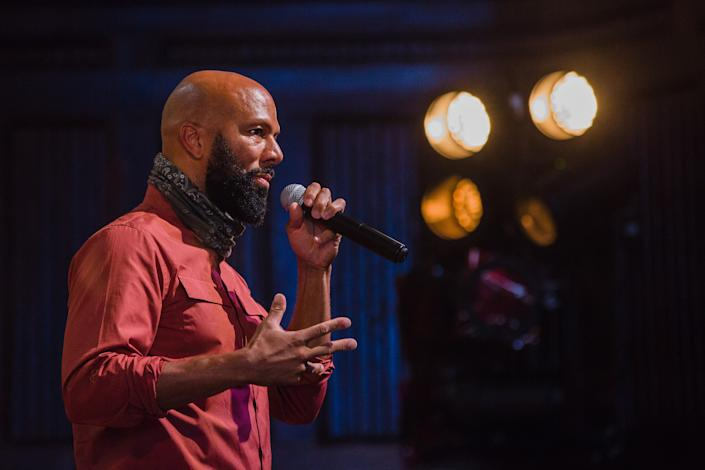 Rap musician Lonnie Rashid Lynn, known as Common, speaks during a campaign event for U.S. Senate Democratic candidate Jaime Harrison at Allen University in Columbia, South Carolina, U.S., on Monday, Oct. 26, 2020. (Photographer Micah Green/Bloomberg)