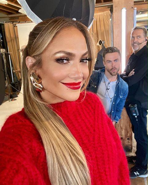"""<p>Punchy red lips and a chic but casual ponytail.</p><p><a href=""""https://www.instagram.com/p/CCo-qXcpDda/?utm_source=ig_embed&utm_campaign=loading"""" rel=""""nofollow noopener"""" target=""""_blank"""" data-ylk=""""slk:See the original post on Instagram"""" class=""""link rapid-noclick-resp"""">See the original post on Instagram</a></p>"""