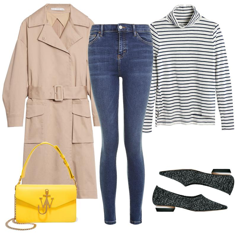 "<a rel=""nofollow"" href=""http://rstyle.me/n/cgydhdjduw"">Voluminous Trench Coat, & Other Stories, $245<p>Denim is an essential component of the French-girl uniform. Pair dark-wash skinnies with a sleek striped turtleneck, a belted trench and flats for a casual yet pulled-together ensemble. Add color via a bright shoulder bag.</p> </a><a rel=""nofollow"" href=""https://click.linksynergy.com/fs-bin/click?id=30KlfRmrMDo&subid=&offerid=365131.1&type=10&tmpid=8372&RD_PARM1=http%3A%2F%2Fus.topshop.com%2Fen%2Ftsus%2Fproduct%2Fclothing-70483%2Fjeans-4593087%2Fmoto-rich-indigo-jamie-jeans-6218364%3Fbi%3D0%2526ps%3D20"">MOTO Rich Indigo Jamie Jeans, Topshop, $70<p>Denim is an essential component of the French-girl uniform. Pair dark-wash skinnies with a sleek striped turtleneck, a belted trench and flats for a casual yet pulled-together ensemble. Add color via a bright shoulder bag.</p> </a><a rel=""nofollow"" href=""https://click.linksynergy.com/fs-bin/click?id=30KlfRmrMDo&subid=&offerid=230436.1&type=10&tmpid=6370&RD_PARM1=https%3A%2F%2Fwww.madewell.com%2Fmadewell_category%2FAllProducts%2FPRD%7EF7189%2FF7189.jsp%3FNbrd%3DM%2526Nloc%3Den_US%2526Nrpp%3D48%2526Npge%3D1%2526Ntrm%3Dstripes%2526isSaleItem%3Dfalse%2526color_name%3DIVORY%2526isFromSearch%3Dtrue%2526isNewSearch%3Dtrue%2526hash%3Drow3"">Whisper Cotton Turtleneck, Madewell, $38<p>Denim is an essential component of the French-girl uniform. Pair dark-wash skinnies with a sleek striped turtleneck, a belted trench and flats for a casual yet pulled-together ensemble. Add color via a bright shoulder bag.</p> </a><a rel=""nofollow"" href=""http://www.zara.com/us/en/woman/shoes/flats/fabric-ballerinas-c358017p4065189.html"">Fabric Ballerinas, Zara, $70<p>Denim is an essential component of the French-girl uniform. Pair dark-wash skinnies with a sleek striped turtleneck, a belted trench and flats for a casual yet pulled-together ensemble. Add color via a bright shoulder bag.</p> </a><a rel=""nofollow"" href=""https://click.linksynergy.com/fs-bin/click?id=30KlfRmrMDo&subid=&offerid=254155.1&type=10&tmpid=6894&RD_PARM1=https%3A%2F%2Fwww.net-a-porter.com%2Fus%2Fen%2Fproduct%2F824472%2Fj_w_anderson%2Flogo-leather-shoulder-bag"">Logo Leather Shoulder Bag, J. W. Anderson, $1370<p>Denim is an essential component of the French-girl uniform. Pair dark-wash skinnies with a sleek striped turtleneck, a belted trench and flats for a casual yet pulled-together ensemble. Add color via a bright shoulder bag.</p> </a><p>     <strong>Related Articles</strong>     <ul>         <li><a rel=""nofollow"" href=""http://thezoereport.com/fashion/style-tips/box-of-style-ways-to-wear-cape-trend/?utm_source=yahoo&utm_medium=syndication"">The Key Styling Piece Your Wardrobe Needs</a></li><li><a rel=""nofollow"" href=""http://thezoereport.com/entertainment/celebrities/anne-hathaway-united-nations-speech/?utm_source=yahoo&utm_medium=syndication"">Anne Hathaway Has A Few Words To Say About Your Rights As A Working Woman</a></li><li><a rel=""nofollow"" href=""http://thezoereport.com/beauty/celebrity-beauty/kim-kardashian-highlighter-makeup/?utm_source=yahoo&utm_medium=syndication"">The Makeup Product Kim Kardashian Has Officially Ditched</a></li>    </ul> </p>"
