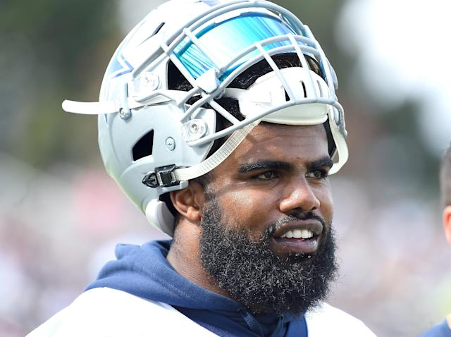 Ezekiel Elliott won't see game action until Oct. 29 if his suspension holds firm. (Getty Images)