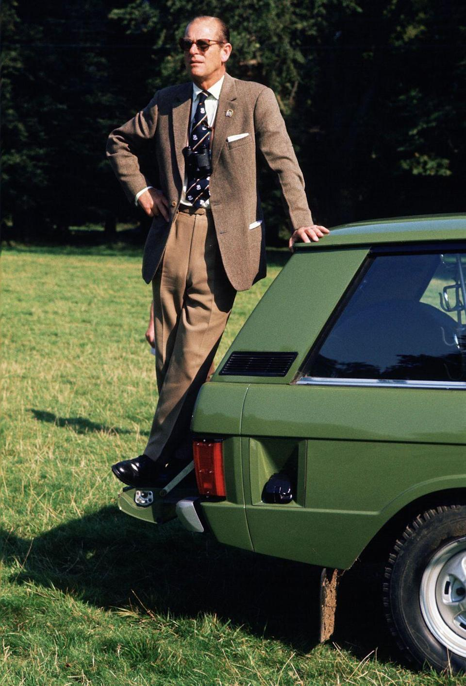<p>Prince Philip wore a classic tweed blazer to the Royal Windsor Horse Show in 1974.</p>