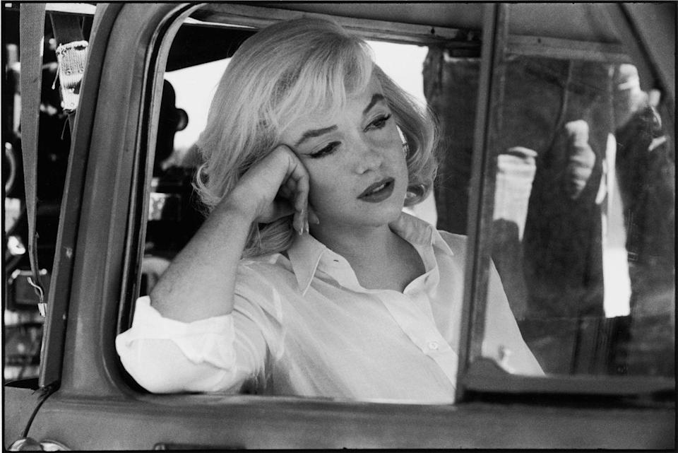 <p>Monroe on set of <em>The</em> <em>Misfits. </em>It was a dramatic role of a recently divorced woman, a vast departure from the characters she normally portrayed and became the last film she completed. </p>