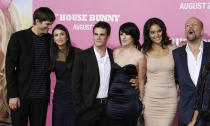 """Cast member Rumer Willis (3rd from R) of the comedy film """"The House Bunny"""" poses with her boyfriend Micah Alberti, her mother Demi Moore with husband Ashton Kutcher (L) and her father Bruce Willis (R) with his girlfriend Emma Heming at the film's premiere in Los Angeles August 20, 2008. REUTERS/Fred Prouser (UNITED STATES)"""