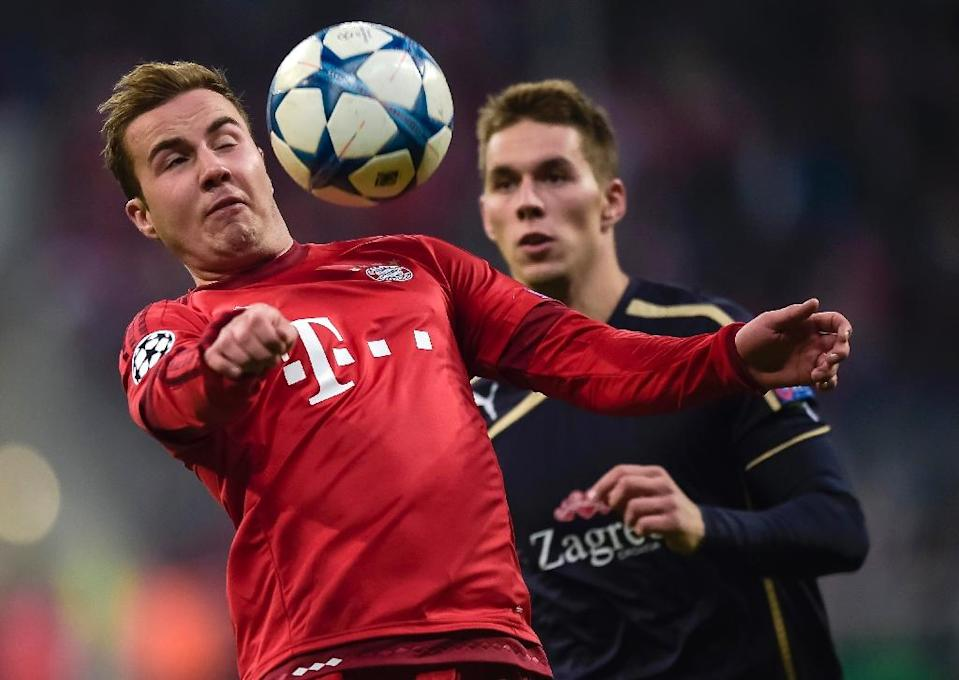 Mario Goetze (left) returns to the Bayern Munich squad after four and a half months out with an adductor injury (AFP Photo/Guenter Schiffmann)