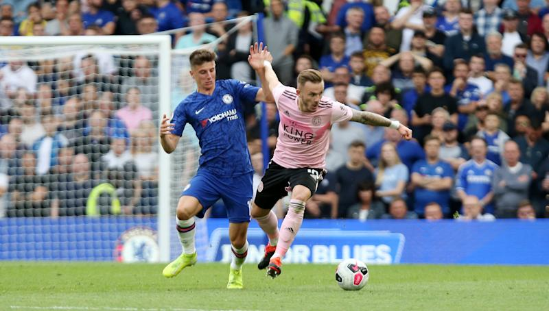 Maddison of Leicester in action with Mason Mount of Chelsea. (Credit: Getty Images)
