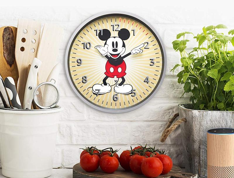Echo Wall Clock — Mickey Mouse Edition in kitchen. (Photo: Amazon)