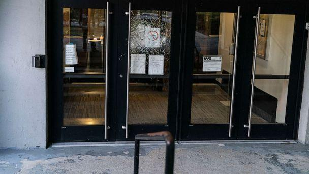 PHOTO: Glass doors were smashed at the Conservative Synagogue Adath Israel of Riverdale in Riverdale, N.Y., April 25, 2021. (Lev Radin/Pacific Press via ZUMA Wire)