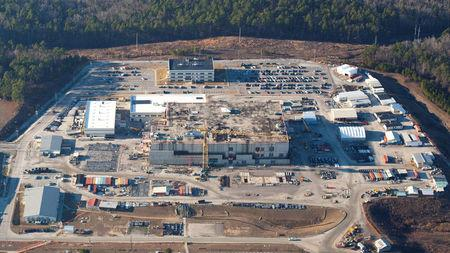 The U.S. Energy Department's Savannah River Site, with the unfinished building which was meant to make plutonium safe but now may not be finished until 2048, is seen in this aerial image, taken near Aiken, South Carolina, U. S. January 31, 2018. High Flyer © 2018/Handout via REUTERS