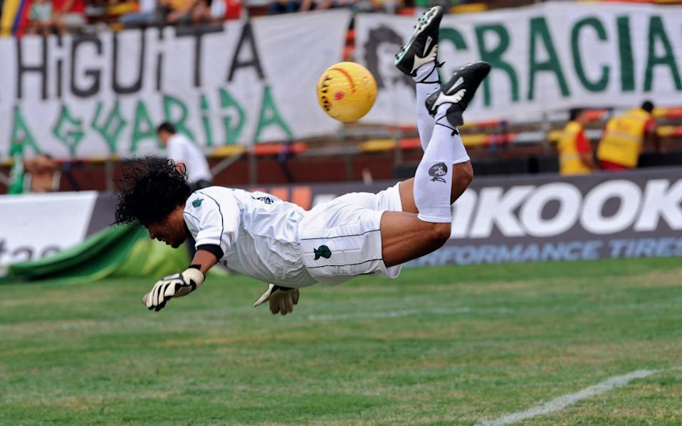 Colombian goalkeeper Rene Higuita was famous for his high-risk sweeper-keeper playing style - AFP