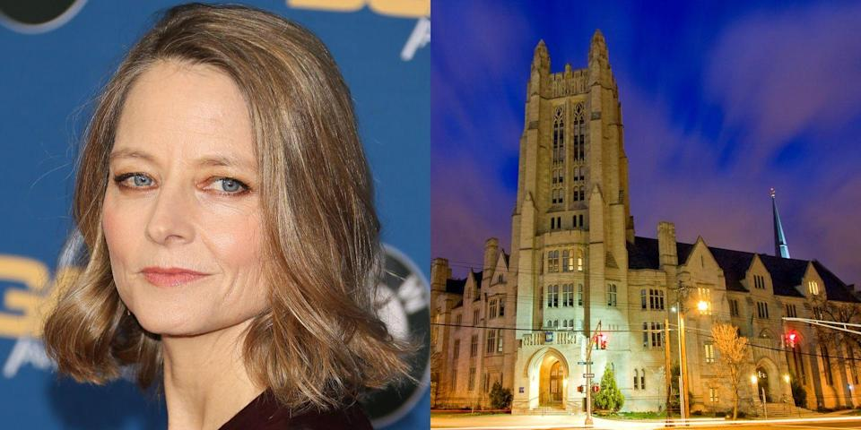 """<p><strong>Yale University</strong></p><p>Foster majored in literature at Yale. She wrote her thesis on Toni Morrison and graduated <span class=""""redactor-invisible-space""""><em>magna cum laude</em></span>.</p><p>""""I chose Yale basically for writing and literature,"""" <a href=""""http://www.biography.com/people/jodie-foster-9299556"""" rel=""""nofollow noopener"""" target=""""_blank"""" data-ylk=""""slk:she said."""" class=""""link rapid-noclick-resp"""">she said.</a> """"Of course, you can't be sure—you get your first D and could decide to be a chemistry major.""""</p><p> She returned to Yale in 1993 to address the graduating class, and was awarded an honorary Doctor of Fine Arts degree from the university in 1997.<br></p>"""