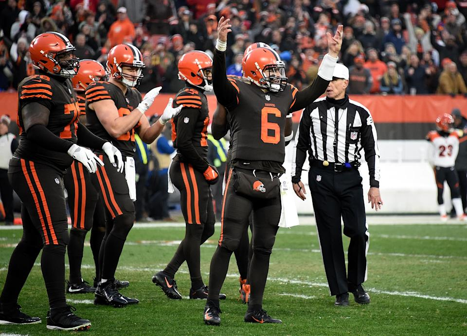 Baker Mayfield (6) of the Cleveland Browns reacts after a 26-18 win over the Cincinnati Bengals at FirstEnergy Stadium on December 23, 2018 in Cleveland, Ohio. (Jason Miller/Getty Images)