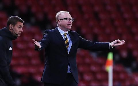 <span>Scotland manger Alex McLeish reacts during the International Friendly match between Scotland and Portugal</span> <span>Credit: Getty </span>
