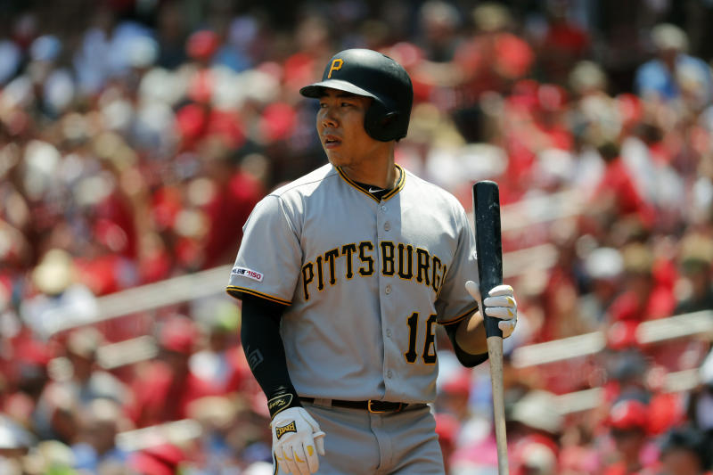 Pittsburgh Pirates' Jung Ho Kang after popping out during the second inning of a baseball game against the St. Louis Cardinals Wednesday, July 17, 2019, in St. Louis. (AP Photo/Jeff Roberson)