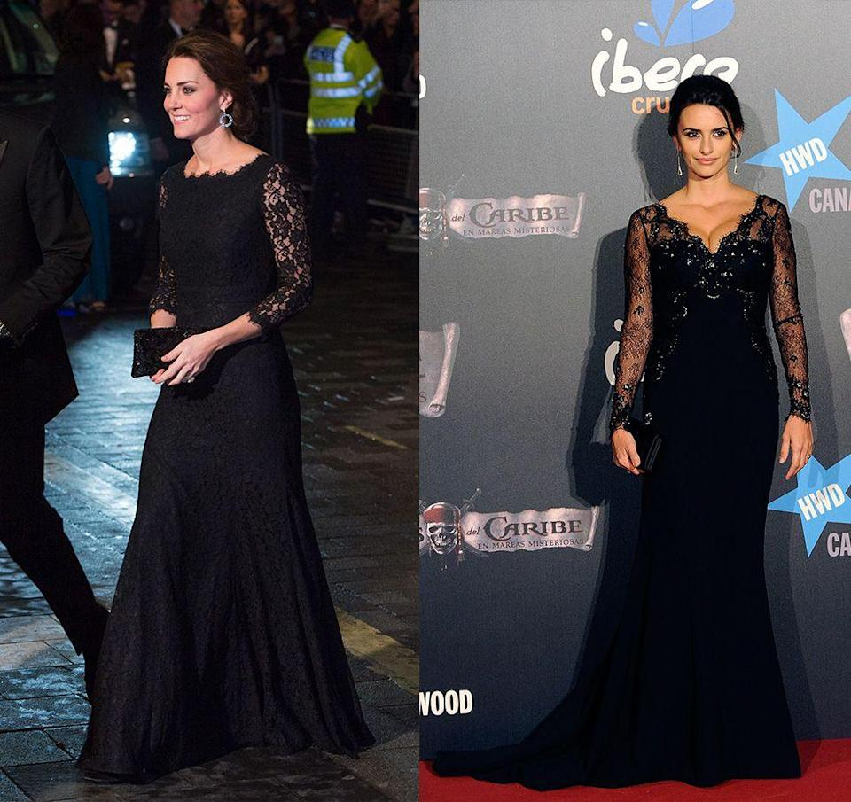 <p>Actress Penelope Cruz added a little bit of flair to her simple black gown at the premiere of <em>The Pirates of the Caribbean</em> in 2011. From the updo to the glamorous earrings, the actress looked almost identical to Kate Middleton in her long black lace evening gown.</p>