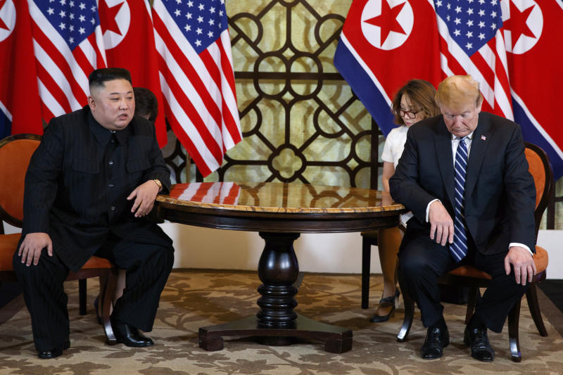 FILE - In this Feb. 28, 2019, file photo, North Korean leader Kim Jong Un, left, meets U.S. President Donald Trump in Hanoi, Vietnam. When Kim meets with Russian President Vladimir Putin for their first one-on-one meeting, he will have a long wish list and a strong desire to notch a win after the failure of his second summit with Trump two months ago. (AP Photo/Evan Vucci, File)