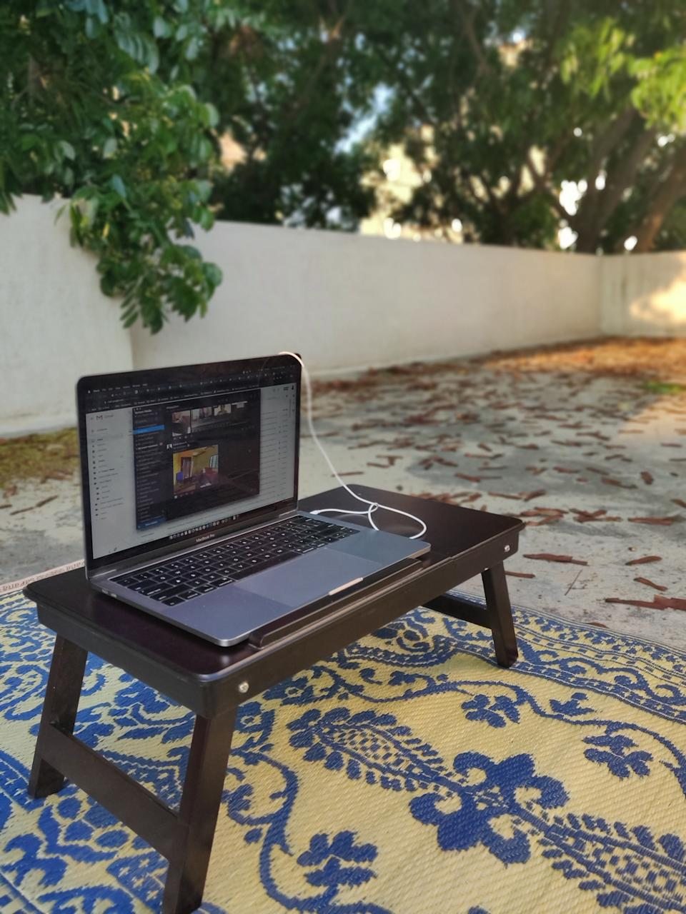 Who knew the terrace could be a great place to work from! All you need is a mat, a table and great wifi! <em>Photo credit: Uday Naresh Telkar</em>