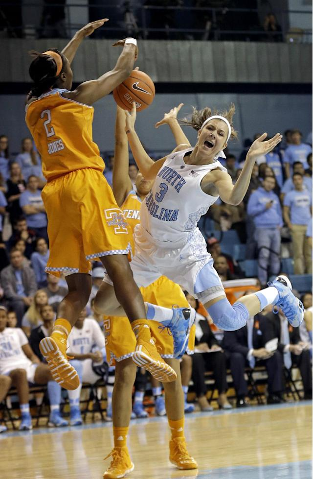 North Carolina's Megan Buckland (3) is blocked by Tennessee's Jasmine Jones (2) during the second half of an NCAA college basketball game in Chapel Hill, N.C., Monday, Nov. 11, 2013. Tennessee won 81-65. (AP Photo/Gerry Broome)