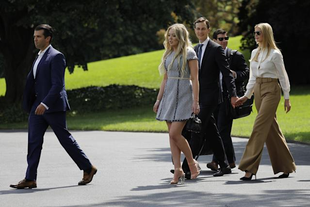 Donald Trump Jr., left, Tiffany Trump, Jared Kushner, and Ivanka Trump head to Camp David for the weekend. (Photo: Getty Images)
