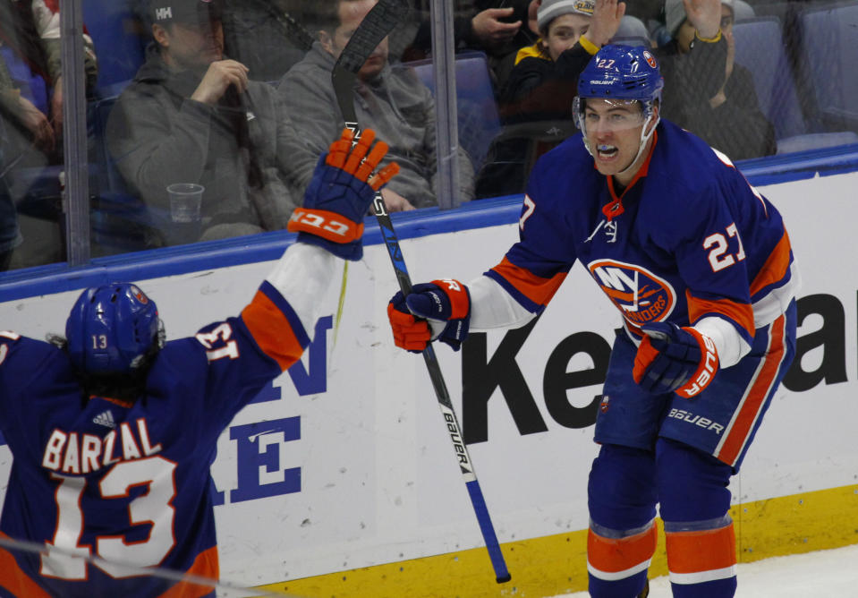 Barzal became the first NHL rookie in 100 years to record three five-point games in a season. (AP Photo/Jeffrey T. Barnes)