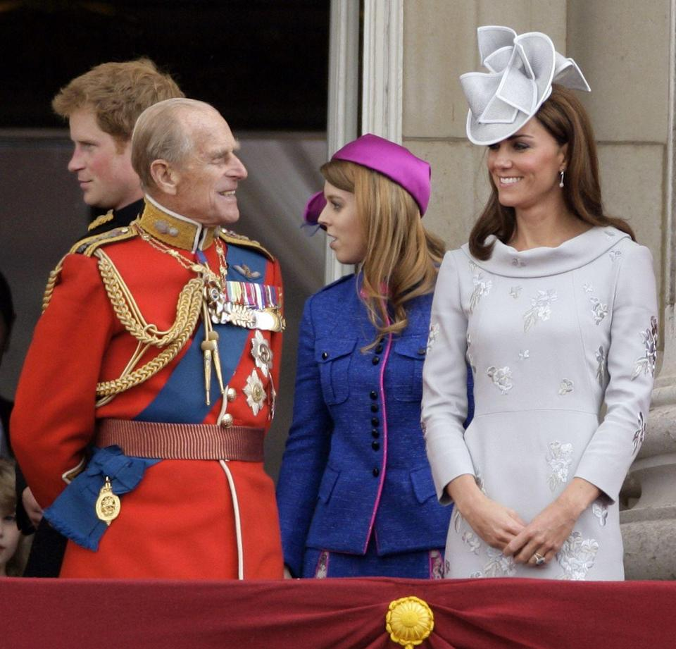 <p>Prince Philip chats with the Duchess of Cambridge during the annual Trooping the Colour Ceremony at Buckingham Palace in 2012.</p>