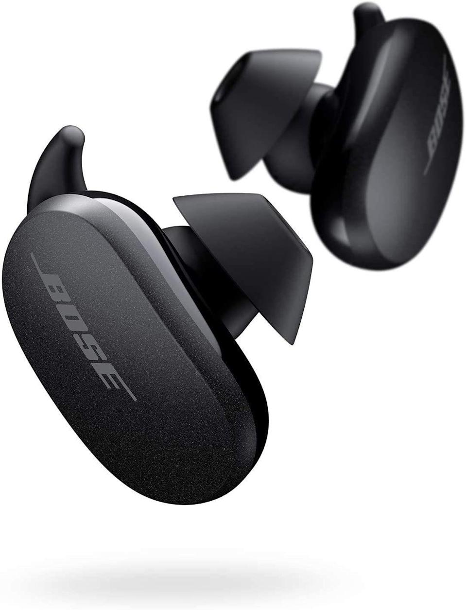 """<p><a class=""""link rapid-noclick-resp"""" href=""""https://www.amazon.co.uk/Bose-QuietComfort-Cancelling-Earbuds-True-Earphones-Triple-Triple-Black/dp/B08C4KWM9T?tag=hearstuk-yahoo-21&ascsubtag=%5Bartid%7C1923.g.25432602%5Bsrc%7Cyahoo-uk"""" rel=""""nofollow noopener"""" target=""""_blank"""" data-ylk=""""slk:SHOP"""">SHOP</a></p><p>For our money, some of the best true wireless earphones on the market – and while they're not exactly cheap, they're well worth the investment. The QuietComforts are light but sturdy, sit securely in the ear during exercise (three hooked buds are included), and don't require you to download a glitchy app like so many devices these days.</p><p>£229.99, <a href=""""https://www.amazon.co.uk/Bose-QuietComfort-Cancelling-Earbuds-True-Earphones-Triple-Triple-Black/dp/B08C4KWM9T"""" rel=""""nofollow noopener"""" target=""""_blank"""" data-ylk=""""slk:amazon.co.uk"""" class=""""link rapid-noclick-resp"""">amazon.co.uk</a></p>"""