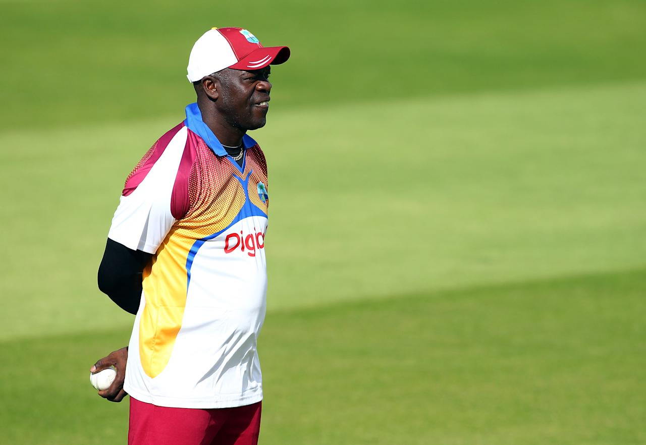 Coach Ottis Gibson of West Indies watches on during England and West Indies nets session at The Kia Oval on September 22, 2011 in London, England.