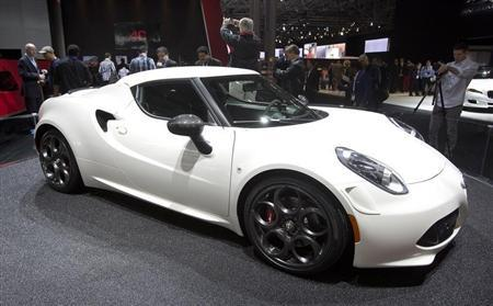 An Alfa Romeo 4C is pictured at a media event at the Jacob Javits Convention Center during the New York International Auto Show in New York