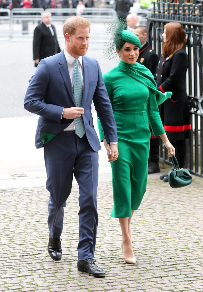 The lining in Harry's suit jacket was made in the same colour as Meghan's dress (Getty)