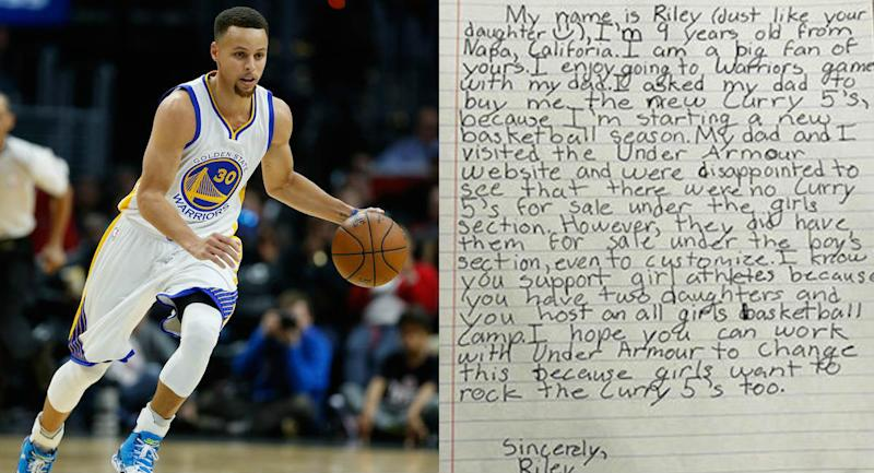 7fc6b5281efe Steph Curry Has the Perfect Response When Girl Asks Him Why His Sneakers  Only Come in Boys  Sizes