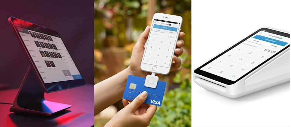 L-R: New Square hardware devices: Register; Reader with Lightning connector; Terminal. (Images via Square)