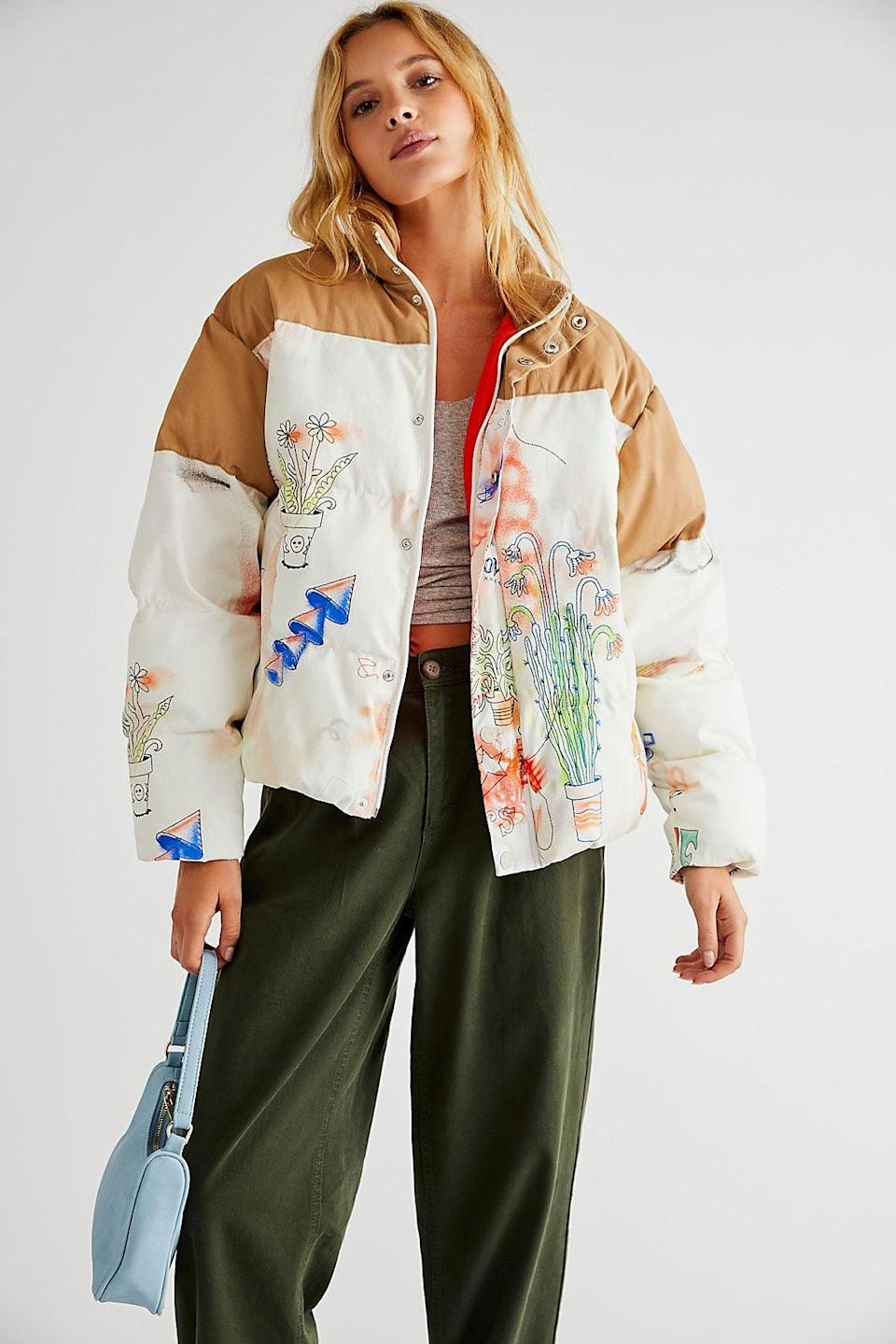 <p>We've never seen anything quite like this <span>Mother The Drop Pillow Talk Puffer</span> ($545). We're obsessed with all the cute doodles.</p>