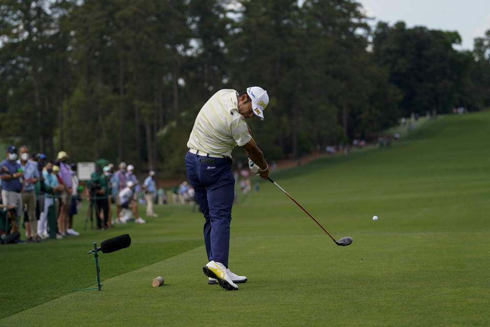 Hideki Matsuyama, of Japan, tees off on the eighth hole during the final round of the Masters golf tournament on Sunday, April 11, 2021, in Augusta, Ga. (AP Photo/Matt Slocum)