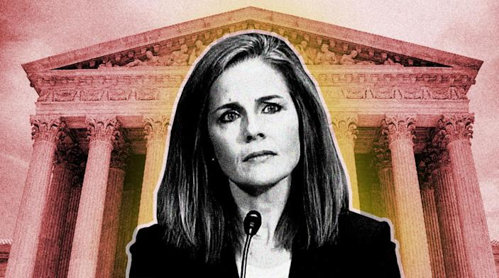Judge Amy Coney Barrett. (Photo illustration: Yahoo News; photos: CSPAN via YouTube, Jim Watson/AFP/Getty Images)
