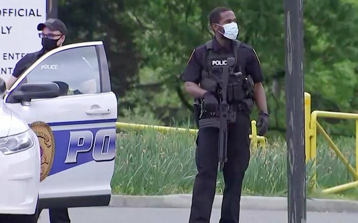 Image: Police secure CIA headquarters entrance after report of suspicious vehicle (NBC NEWS)