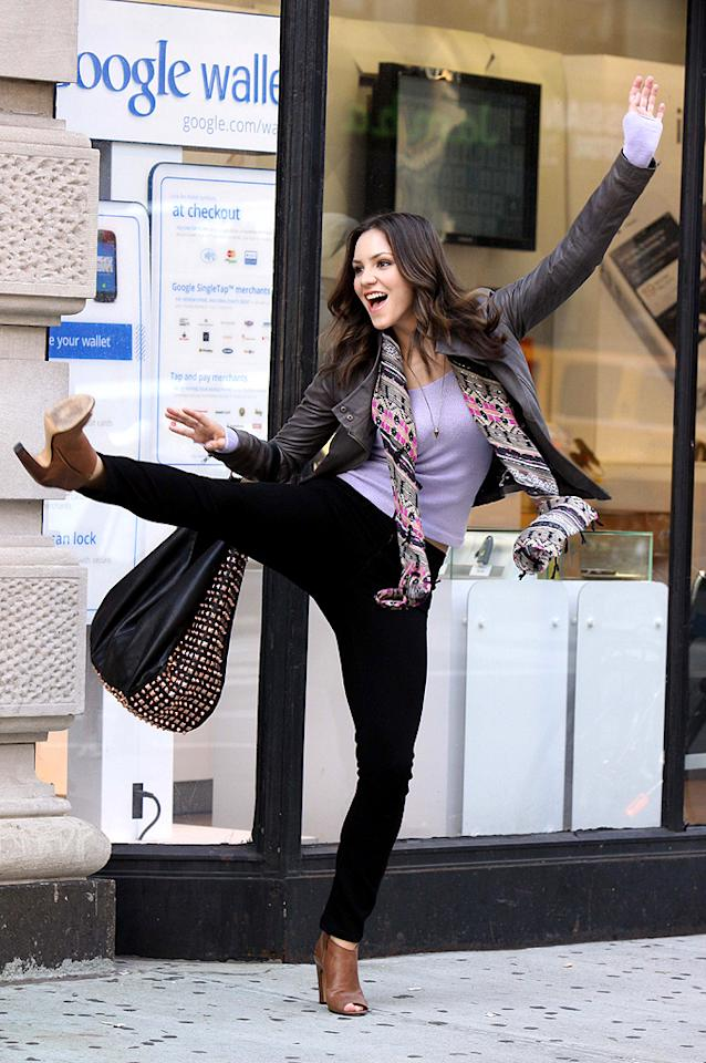"""No, Katharine McPhee doesn't just walk around Manhattan showing off her dance moves. The 28-year-old was actually shooting a scene on Tuesday for the upcoming season of the NBC series """"Smash,"""" in which she plays a Broadway actress. """"Shooting in Times Square...were not drawing too much attention to ourselves at all!"""" McPhee <a target=""""_blank"""" href=""""https://twitter.com/katharinemcphee/status/228566581301620736/photo/1"""">tweeted</a> from the set along with a pic of the crew and some serious camera equipment. (7/24/2012)"""
