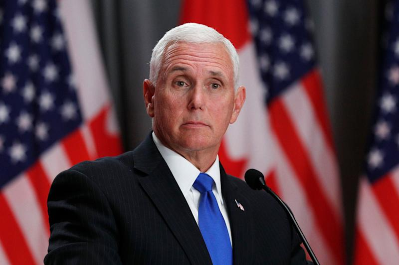 US Vice President Mike Pence speaks during a joint press conference with the Canadian Prime Minister in Ottawa, Ontario, on May 30, 2019. (Photo by Lars Hagberg / AFP) (Photo credit should read LARS HAGBERG/AFP/Getty Images)