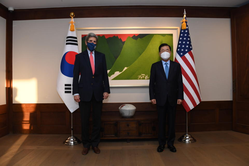 In this photo provided by U.S. Embassy Seoul, U.S. Special Presidential Envoy for Climate John Kerry, left, and South Korean Foreign Minister Chung Eui-yong, right, pose for photograph at the Foreign Minister's residence in Seoul, South Korea, Saturday, April 17, 2021. (U.S. Embassy Seoul via AP)