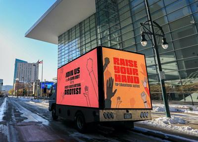 The Raise Your Hand Virtual Protest Truck has been driving through the streets of Denver in a first ever protest of its kind, calling educational equity and the decolonization of America's school systems.