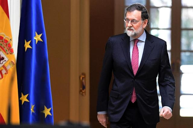 Rajoy was at the last three Champions League finals his team won in 2014, 2016 and 2017, but will not now be travelling to Kiev on Saturday to watch Real take on Liverpool (AFP Photo/JAVIER SORIANO)