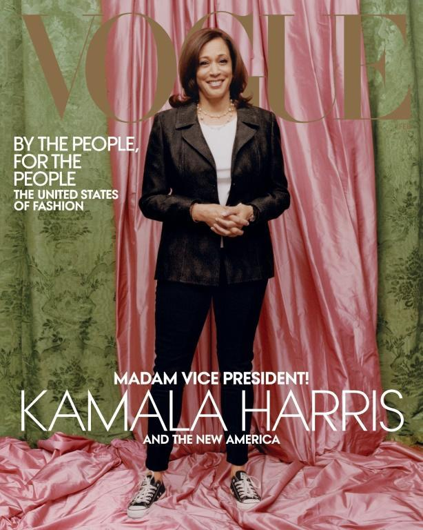 This handout photo obtained on January 12, 2021, courtesy of Vogue, shows US Vice President–elect Kamala Harris on the February 2021 cover of the magazine