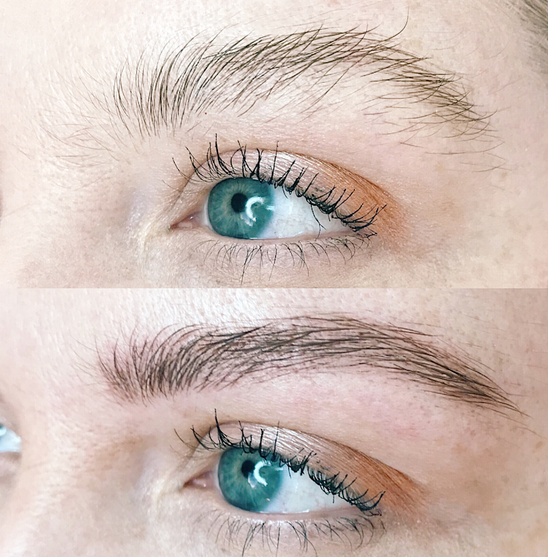 Eyebrows before and after microfeathering