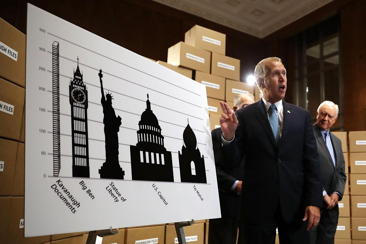 Senate Judiciary Committee member Sen. Thom Tillis, R-N.C., points to a poster comparing a stack of documents related to Kavanaugh to the size of landmark buildings during a news conference on Aug. 2, 2018, in Washington, D.C. (Photo: Chip Somodevilla/Getty Images)