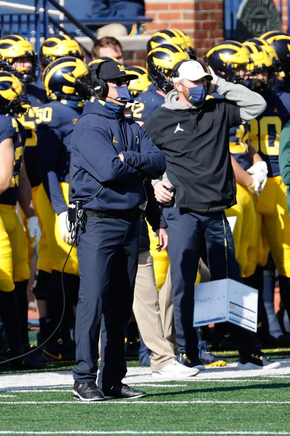 Michigan coach Jim Harbaugh on the sideline in the first half of MSU's 27-24 win over U-M on Saturday, Oct. 31, 2020, at Michigan Stadium.