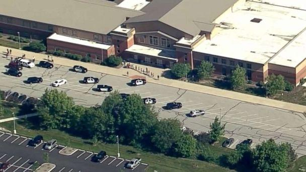 PHOTO: Students stream out of Noblesville West Middle School in Noblesville, Ind., after reports of a shooting, May 25, 2018. (WRTV)