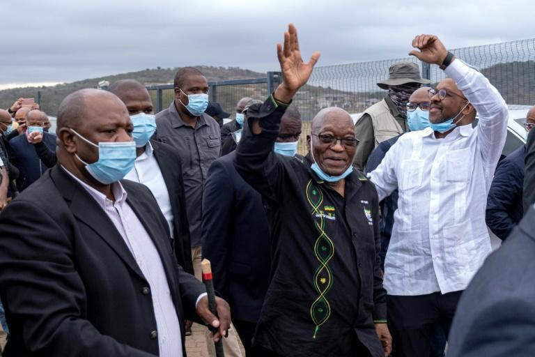 Among friends: Zuma, speaking to supporters who gathered on Sunday outside his rural home in southeastern Kwa-Zulu Natal province