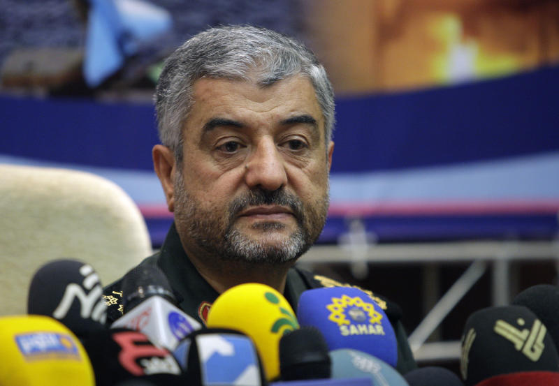 "Commander of Iran's Revolutionary Guard, Gen. Mohammad Ali Jafari, attends a press conference in Tehran, Iran, Sunday, Sept. 16, 2012. The top commander in Iran's powerful Revolutionary Guard has warned that ""nothing will remain"" of Israel if it takes military action against Tehran over its controversial nuclear program. (AP Photo/Vahid Salemi)"