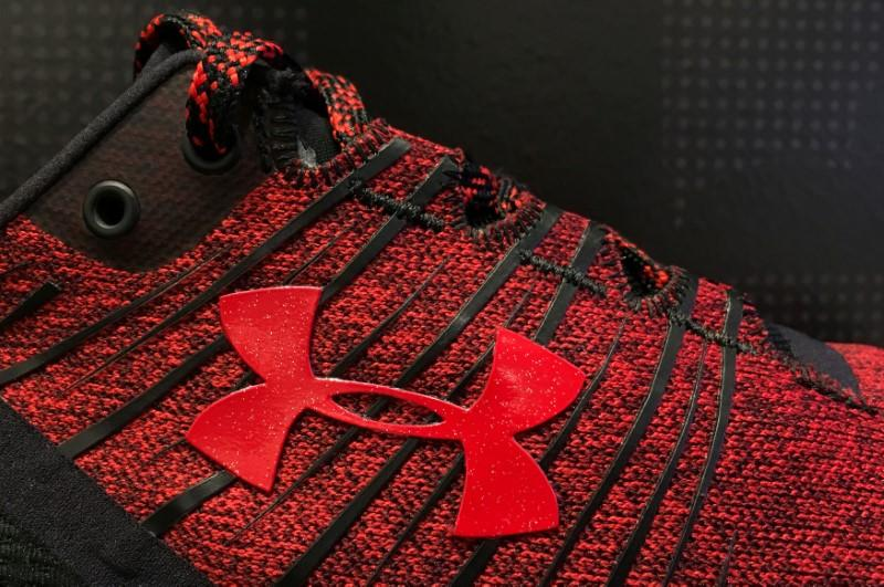 FILE PHOTO: An Under Armour logo is seen on a running shoe on display at an store in Chicago